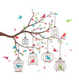 colorful tree with birds and birdcages vector image vector image