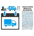 Delivery Car Calendar Day Icon With 1000 Medical vector image vector image
