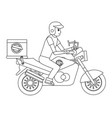 delivery guy with motorcycle vector image vector image