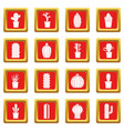 different cactuses icons set red vector image vector image