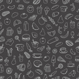 Different food doodles seamless background Lineart vector image vector image