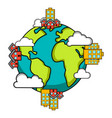earth with buildings icon earth day vector image