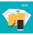 file office work time supply icon vector image vector image