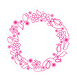 flower lineart wreath vector image vector image