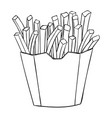 french fries in a paper cup black and white vector image vector image