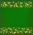 green background with stripes of golden leaves vector image