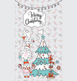 greeting card christmas card with rabbits vector image