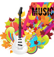 Guitar Icon with Autumn Background vector image
