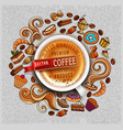 hand drawn doodles on a coffee theme cups turka vector image