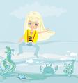 Happy girl in lifejacket vector image