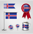 iceland country flag place on map pin steel pole vector image vector image