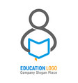 isolated logo of student with open book in vector image vector image