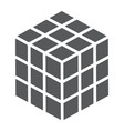 math cube glyph icon block and geometric vector image vector image