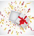 open 3d realistic gift box with red ribbon and vector image vector image