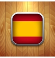 Rounded Square Spain Flag Icon on Wood Texture vector image