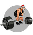 Santa Claus athlete with a barbell vector image vector image