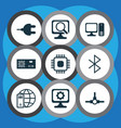 set of 9 computer hardware icons includes power vector image vector image