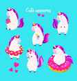 set of funny cartoon magic unicorns patch badge vector image