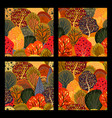 set of seamless backgrounds with stylized autumn vector image