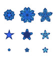 set of stars snowflakes star icon in flat design vector image vector image