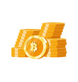 stack mountain gold bitcoins digital money vector image