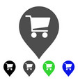 supermarket map marker flat icon vector image