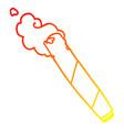 warm gradient line drawing cartoon smoking joint vector image vector image