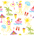 Funny beach seamless pattern hand drawn design vector image