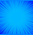 blue comic background with lines and halftone vector image