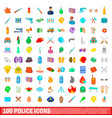 100 police icons set cartoon style vector image vector image