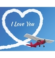 Airplane drawing a cloudy love vector image vector image