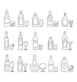 Alcohol drink beverages outline icons bottles and vector image vector image