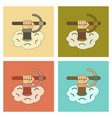 assembly flat icons hammer in hand avalanche vector image