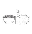 Beer Bottle Mug Bowl Potato Chips vector image vector image