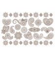big set of indian floral ornaments back vector image