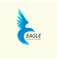 Blue eagle attacking flight trendy minimalistic