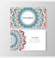 Business card with mandala floral pattern vector image vector image