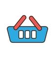 cartoon blue basket shopping online e-commerce vector image