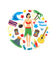 cartoon symbol of hawaii round design template vector image
