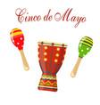 cinco de mayo maracas green and red drum vector image