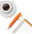 cup of coffee and pen vector image vector image