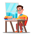 cute child in glasses sitting at a desk in a vector image vector image