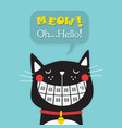 cute laughing black funny orthodontics cat vector image vector image