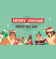 dogs in santa hats on merry christmas and happy vector image