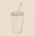 drink in paper cup with drinking straw hand drawn vector image vector image