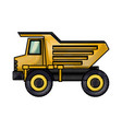 dump truck flat icon in colored crayon silhouette vector image