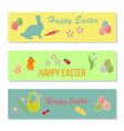 easter banners with eggs in basket and flowers vector image