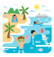 flat of sea and young people at the beach vector image vector image