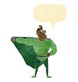 funny cartoon superhero with speech bubble vector image vector image