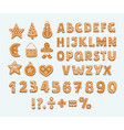gingerbread cookies alphabet arabic numbers sign vector image vector image